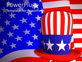 PPT theme enhanced with big American hat with an american flag as its background