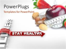 PowerPlugs: PowerPoint template with a big apple, strawberries and nuts with a measuring tape