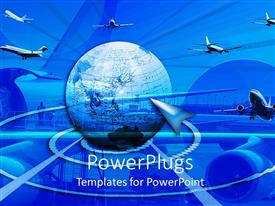 PowerPlugs: PowerPoint template with big blue colored earth globe with lots of airplanes flying