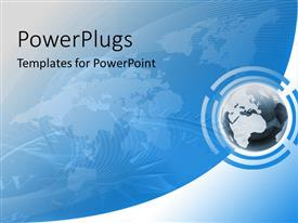 PowerPlugs: PowerPoint template with big blue earth globe on a blue background