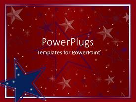 PowerPlugs: PowerPoint template with big blue and red star logos on a red background