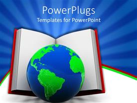 PowerPlugs: PowerPoint template with big book with a blue and green earth globe