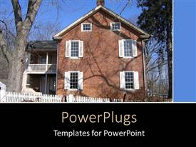 PowerPoint template displaying a big brown house with white windows and a tree