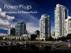 PowerPlugs: PowerPoint template with big buildings in city, urban living, city lifestyle with river depiction and apartment buildings in the background