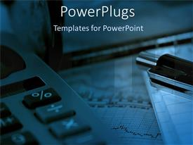 PowerPlugs: PowerPoint template with big calculator with a black pen on a blue background