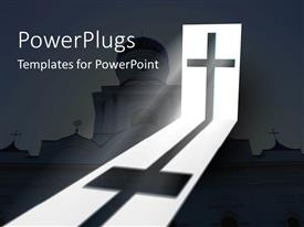 PowerPlugs: PowerPoint template with big catholic church with a cross and a ray of light o it