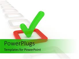 PowerPoint template displaying big checkbox symbol with white color