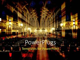 PowerPlugs: PowerPoint template with a big church from the inside with a number of windows