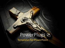 PowerPlugs: PowerPoint template with a big cross of Jesus Christ on a Bible