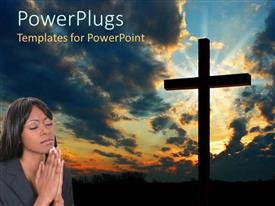 PowerPlugs: PowerPoint template with big cross with a lady closing her eyes and praying beside it