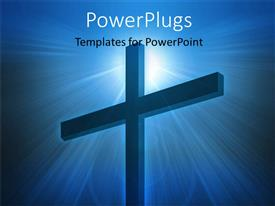 PowerPlugs: PowerPoint template with a big cross on a lit blue colored background