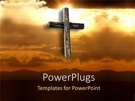 PowerPlugs: PowerPoint template with big cross in orange sunset sky clouds holy bible