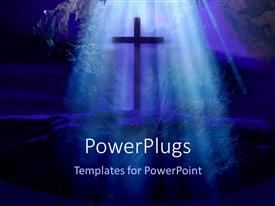 PowerPoint template displaying big cross on a rock with blue light rays shinning on it