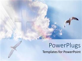 PowerPlugs: PowerPoint template with big cross in the sky white clouds heavenly doves shining glowing heaven