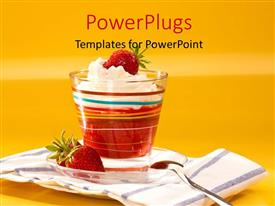 PowerPoint template displaying a big cup of strawberry ice cream with a spoon