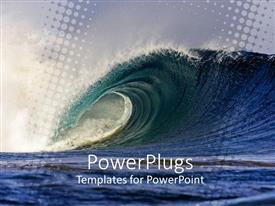 PowerPoint template displaying big deep blue sea waveon a dark cloudy day