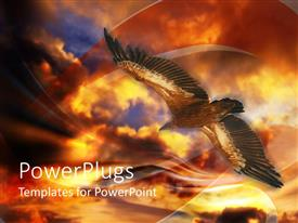 PowerPlugs: PowerPoint template with big eagle flying under a dark and orange cloud