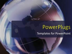 PowerPlugs: PowerPoint template with a big earth globe on a blue colored background