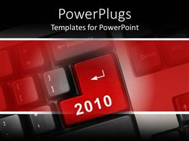 PowerPoint template displaying big enter key on a keyboard with 2010 text