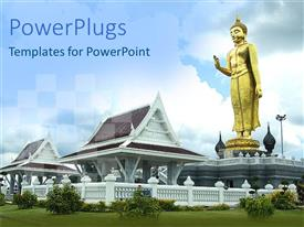 PowerPlugs: PowerPoint template with a big gold colored statue of Buddha on a house