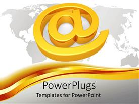 PowerPlugs: PowerPoint template with a big gold colored @ symbol on a map background