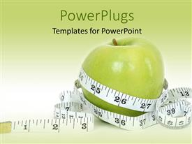 PowerPlugs: PowerPoint template with a big green apple wrapped round with a measuring tape