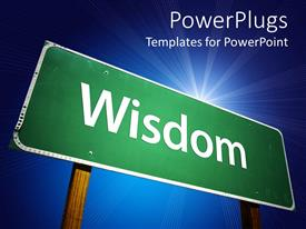 PowerPlugs: PowerPoint template with big green colored sign post with the text wisdom