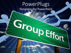 PowerPoint template displaying big green sign post with white Group Effort text