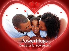 PowerPlugs: PowerPoint template with a big heart shaped tile showing a happy family of three