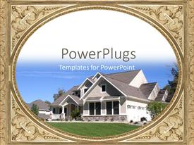 PowerPoint template displaying a big house with a lot of greenery