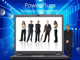 PowerPlugs: PowerPoint template with a big laptop with a business man standing beside it