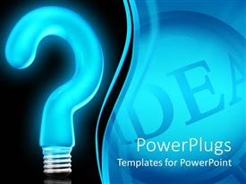 PowerPlugs: PowerPoint template with big neon blue colored question mark bulb on a blue background