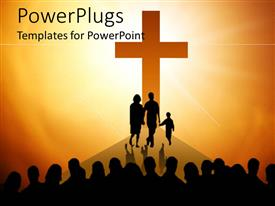 PowerPoint template displaying big orange silhouette of cross with family in front of cross and group of people