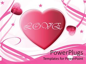 PowerPlugs: PowerPoint template with big pink heart with white love and floral patterned smaller hearts with pink stars and ribbons over white background