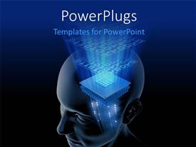 PowerPlugs: PowerPoint template with big processor chip in human head on dark blue and black surface