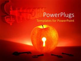 PowerPoint template displaying a big red apple with a key hole and keys around it