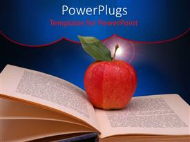 PowerPlugs: PowerPoint template with big red apple on an open book page with spot lights