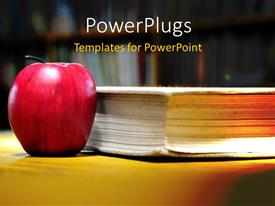 PowerPlugs: PowerPoint template with a big red apple standing beside an old book