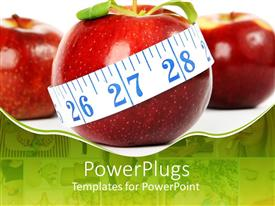 PowerPoint template displaying big red apple with a white measuring tape round it
