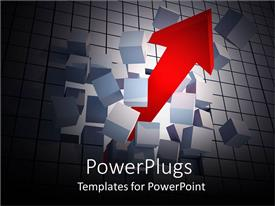 PowerPlugs: PowerPoint template with big red arrow passing though a stack of blocks