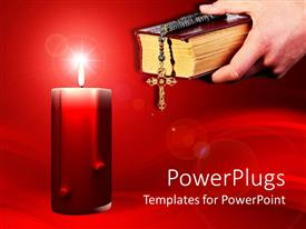 PowerPoint template displaying big red candle with an adult hand holding a bible and rosary
