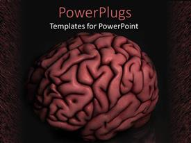 PowerPoint template displaying a big red colored 3D huamn brain on a dark background
