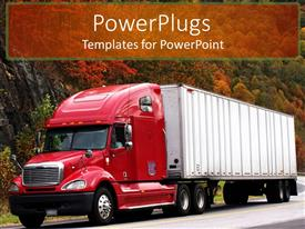 PowerPoint template displaying big red trailer on a high way with trees