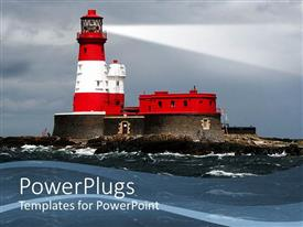 PowerPoint template displaying big red and white colored light house on a sea
