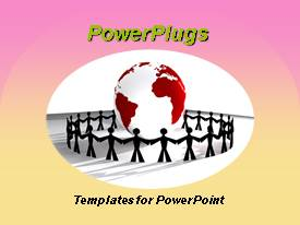 PowerPlugs: PowerPoint template with big red and white earth globe with human figures joining hands round it