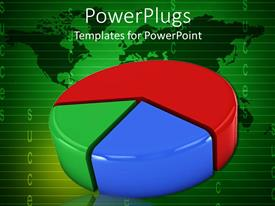 PowerPoint template displaying big shinny multi colored pie chart on a green background
