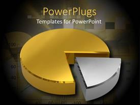PowerPlugs: PowerPoint template with a big shiny gold and silver colored pie chart