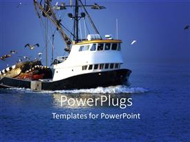 PowerPlugs: PowerPoint template with a big ship with sea in the background