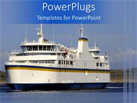 PowerPlugs: PowerPoint template with a big ship in the sea with clouds in the background
