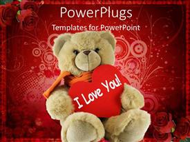 PowerPlugs: PowerPoint template with big soft fluffy teddy bear holding a love message